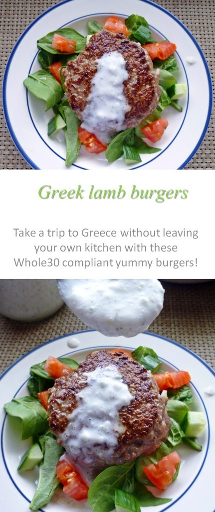 These Greek lamb burgers are Whole30 compliant and provide a delicious Mediterranean taste in a family friendly meal #burgers
