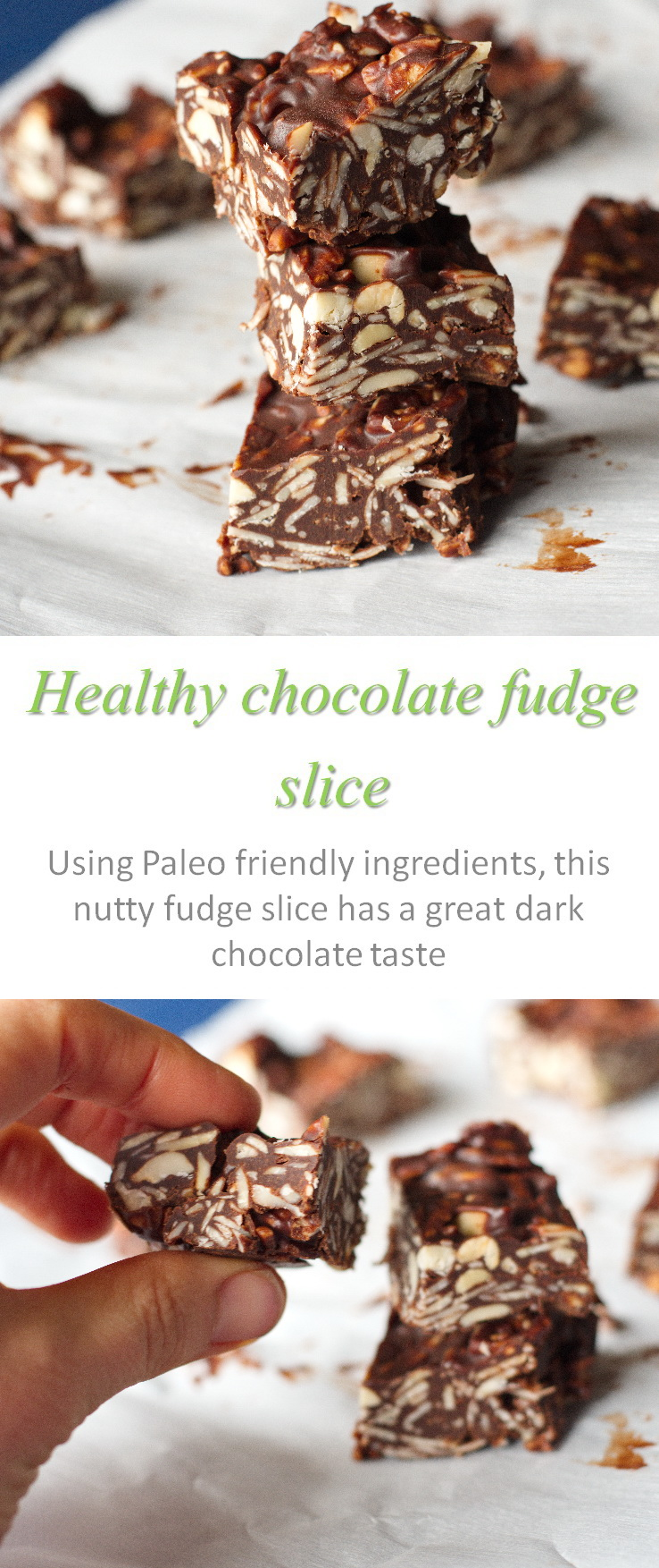 A healthy, gluten-free, no bake chocolate fudge nut slice that is heaven in your mouth. Healthy chocolate? You bet! #chocolate