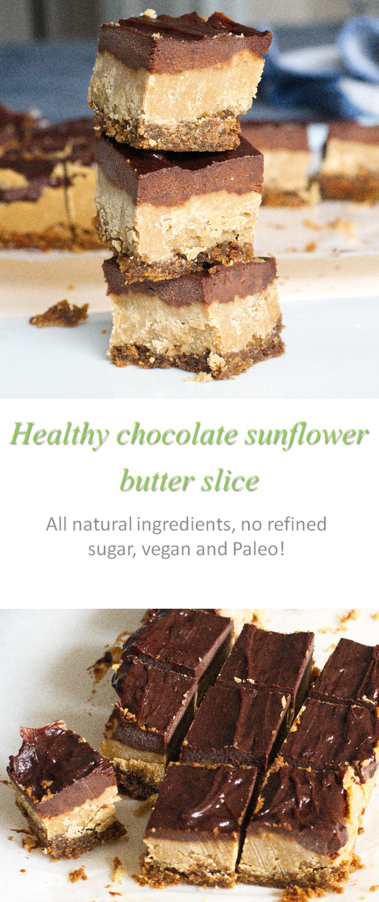 A healthy chocolate sunbutter slice, with no gluten, dairy, eggs, nuts or refined sugar - but totally packed with flavor! #sunbutter