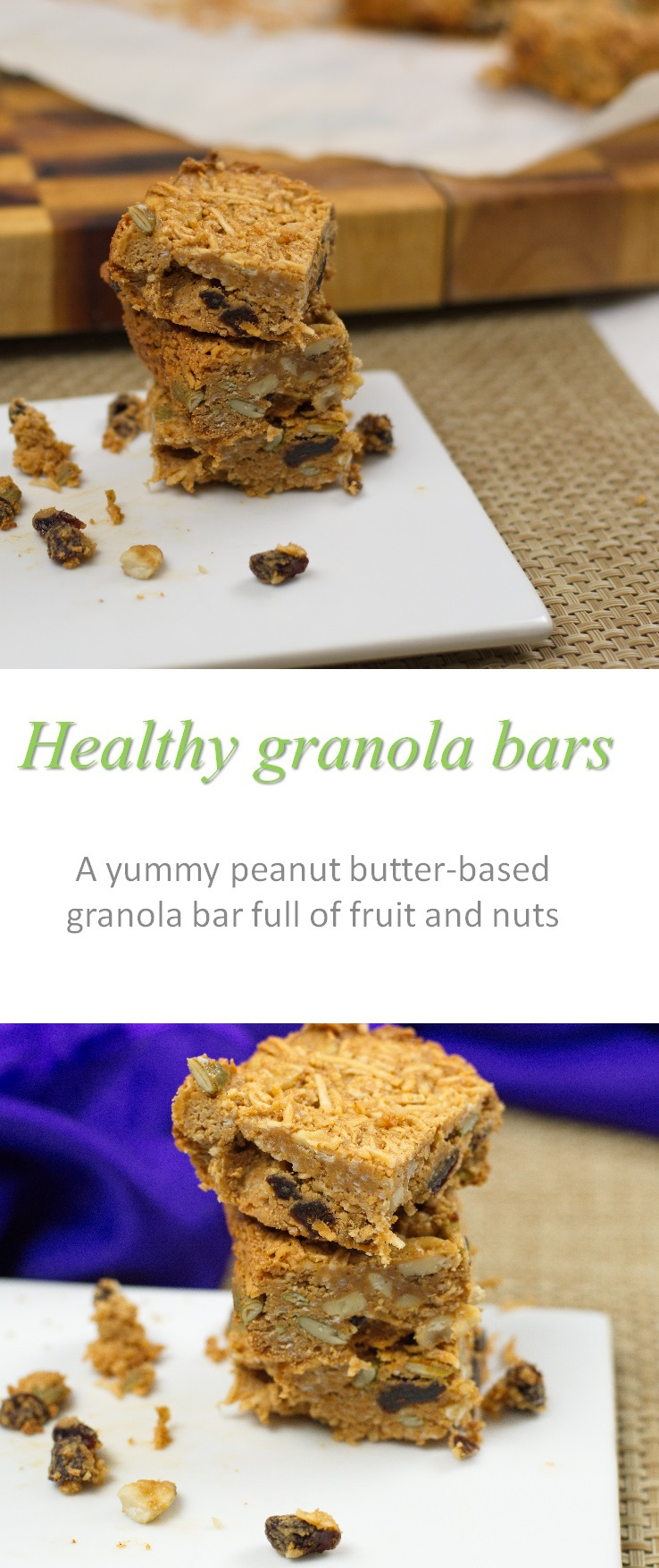 This healthy granola bar recipe uses all natural ingredients. The coconut, honey and dried fruit are for the sweetness and the nuts are for the crunchiness. #granolabar