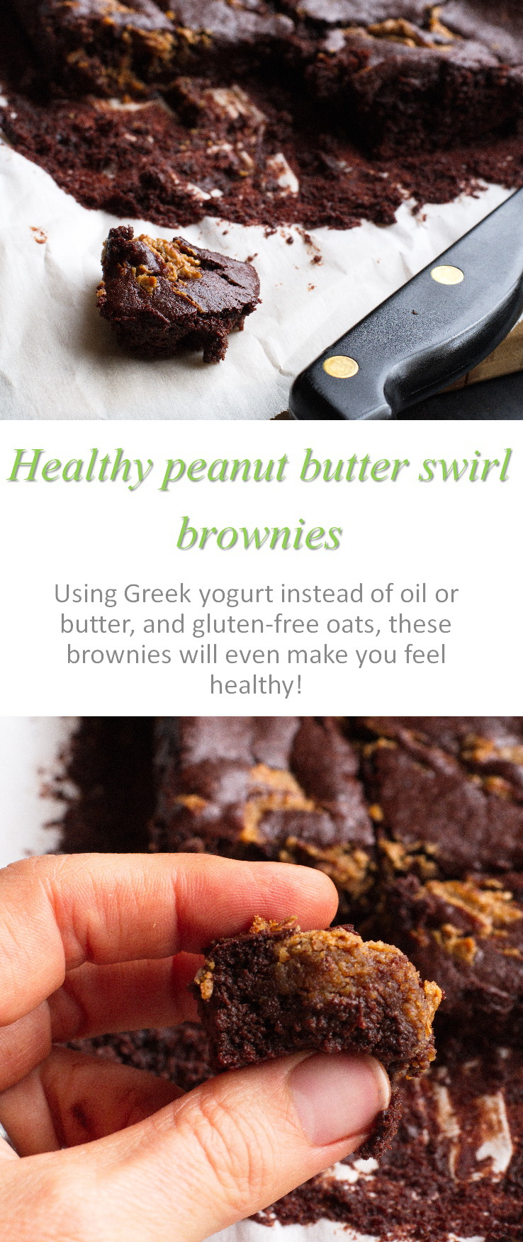 Brownies made with no oil? Check out these peanut butter swirl brownies and you can feel healthy while eating them! #brownies
