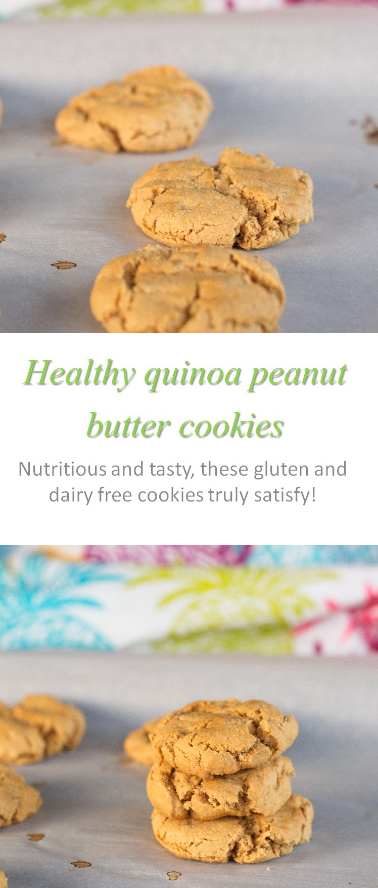A gluten-free and dairy-free without refined sugar quinoa peanut butter cookie that is yummy! #quinoa #peanutbutter #cookathome #glutenfree #dairyfree