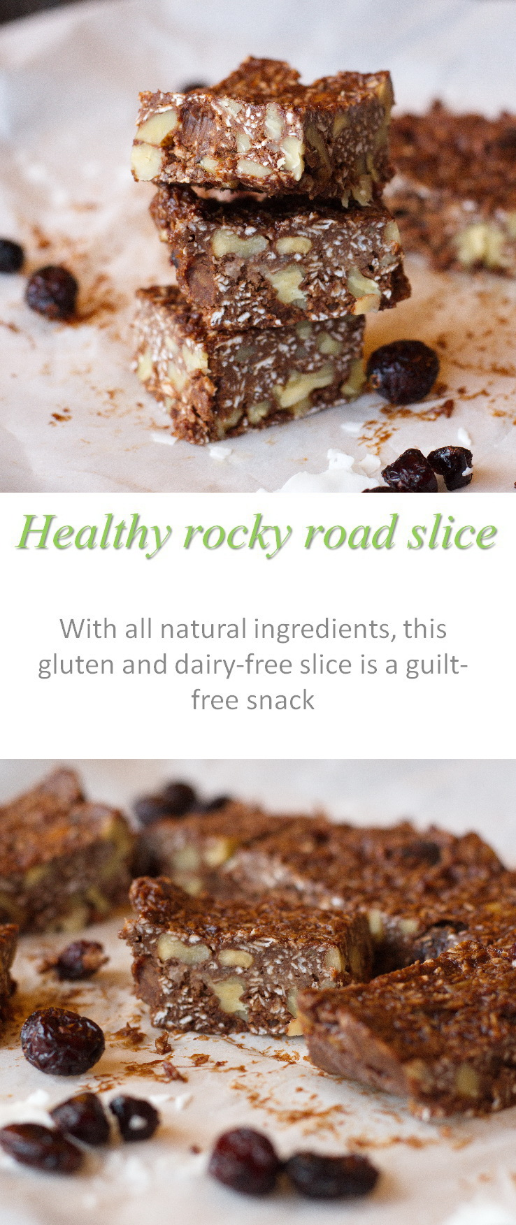 A healthy rocky road slice with all natural ingredients - only 110 calories per piece #rockyroad