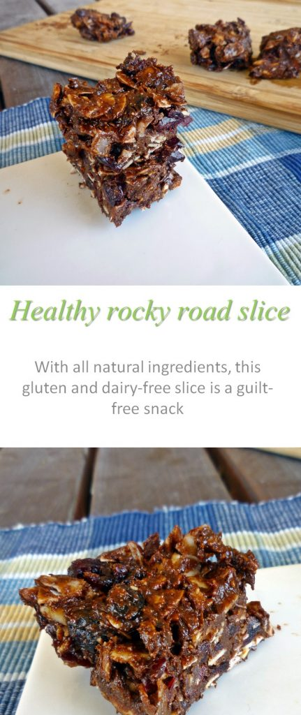 A healthy rocky road slice with all natural ingredients - only 110 calories per piece. Gluten, dairy and refined-sugar free and so tasty! #rockyroad