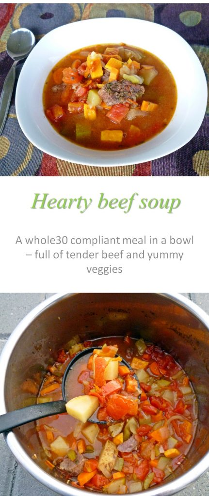 A whole30 compliant meal in a bowl - this hearty beef soup is full of tender meat chunks and yummy veggies #soup