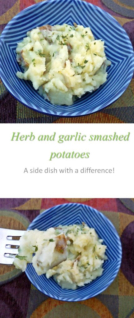 Mashed potatoes with a difference - garlic and herbs add a zing to this yummy Whole30 side dish of herb and garlic smashed potatoes! #sidedish