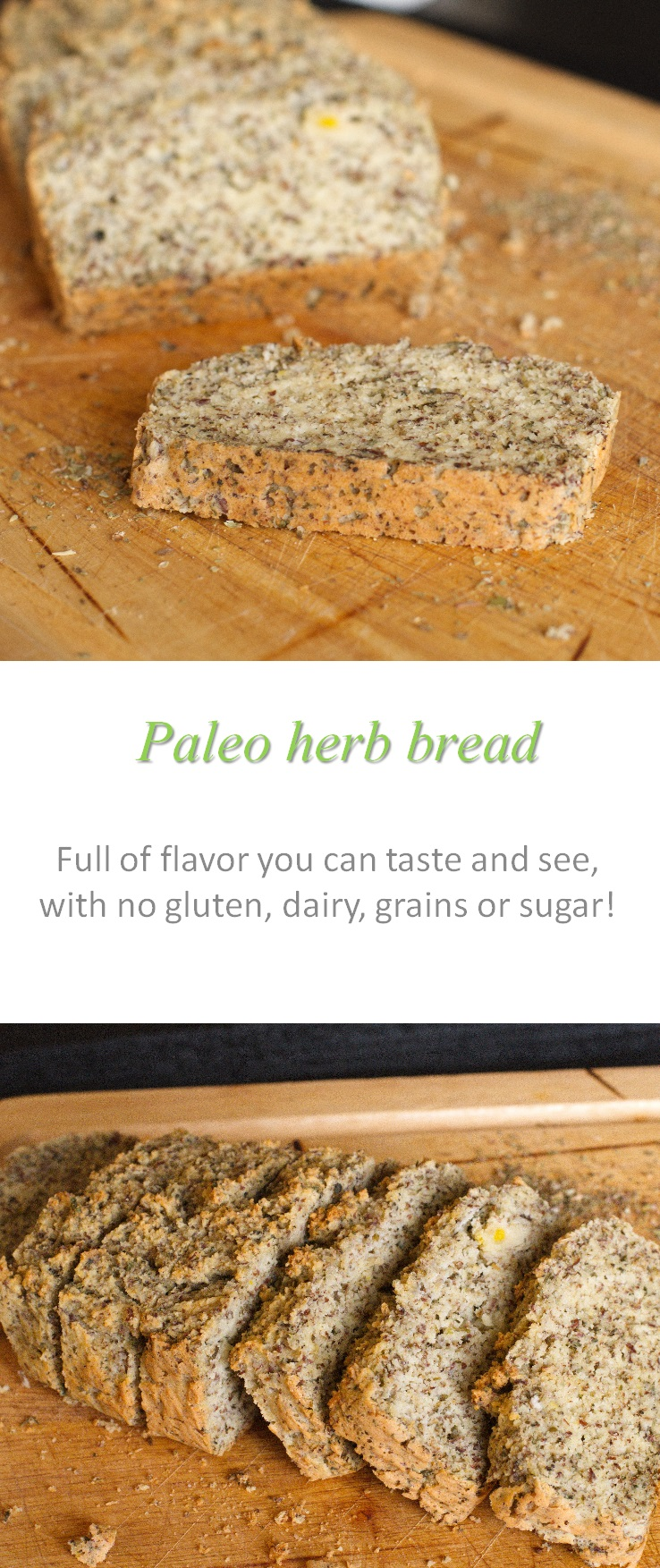 This Paleo herb bread is a perfect side for any meal - so good to mop up those extra juicy sauces! #bread #paleo #cookathome #glutenfree #dairyfree