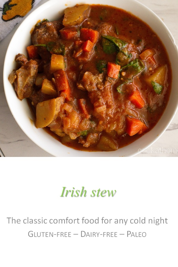 A hearty Irish stew that warms you from the inside out, full of chunks of tender beef and yummy veggies! #irishstew #cookathome #glutenfree #dairyfree