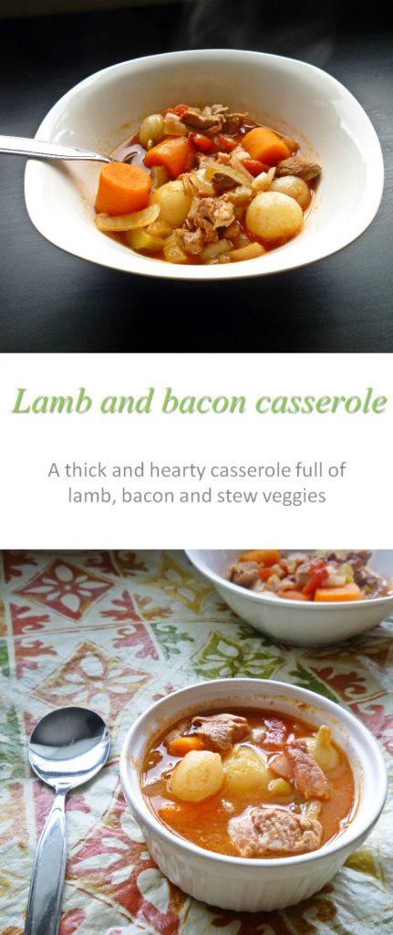 This lamb and bacon casserole is a family favorite, combining tender lamb chunks with bacon and a whole lot of veggies #casserole #cookathome #glutenfree #dairyfree #paleo