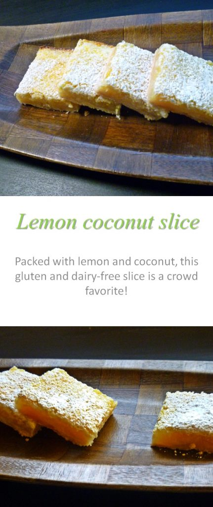 A sweet but tangy, gluten and dairy-free lemon coconut slice with flavor you can see! #slice
