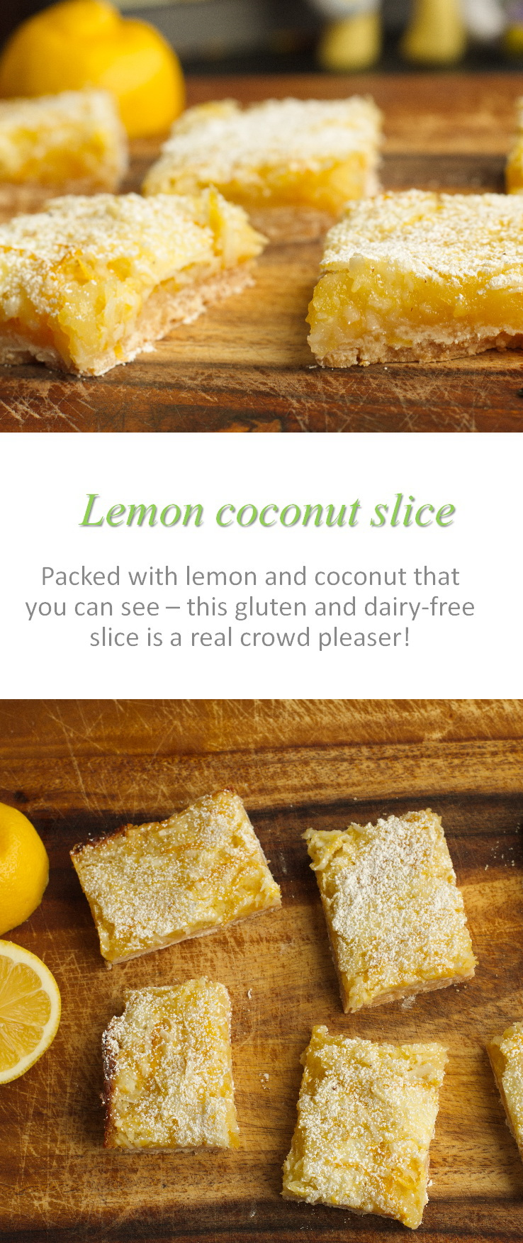 A sweet but tangy gluten and dairy-free lemon coconut slice with flavor that you can see #lemon