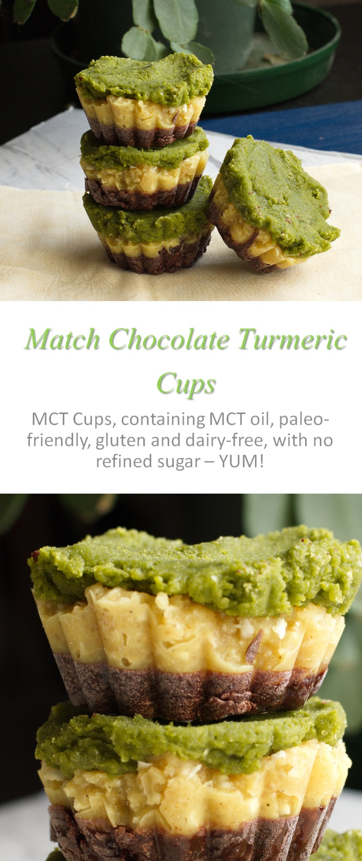 These matcha chocolate turmeric cups (MCT cups) are a play on MCT oil, but give you a boost of superfoods in every bite! #mctoil #cookathome #glutenfree #dairyfree