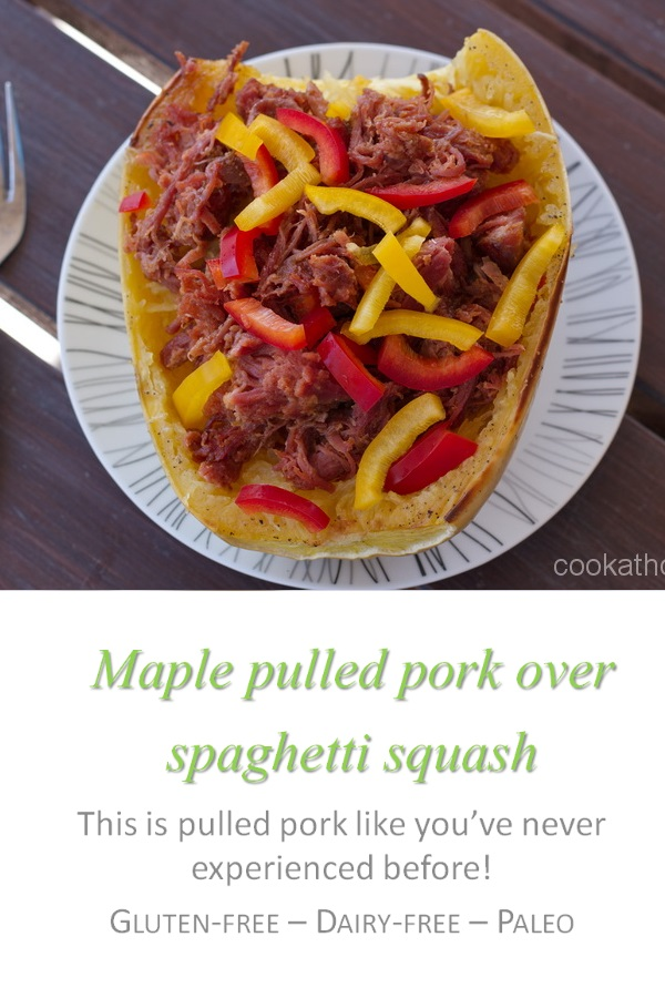 A decadent maple glaze with pulled pork, all in a spaghetti squash - what's not to love? #maple #pork #cookathome #glutenfree #dairyfree #paleo