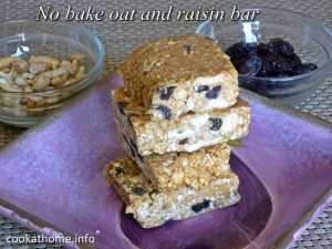 No bake oat and raisin bar