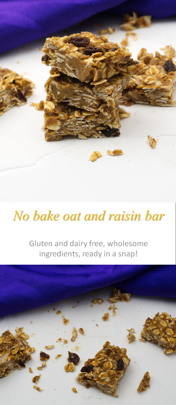 A healthy no-bake oat and raisin bar.  Full of oats and raisins.  And peanut butter.  Lots of peanut butter! #nobake