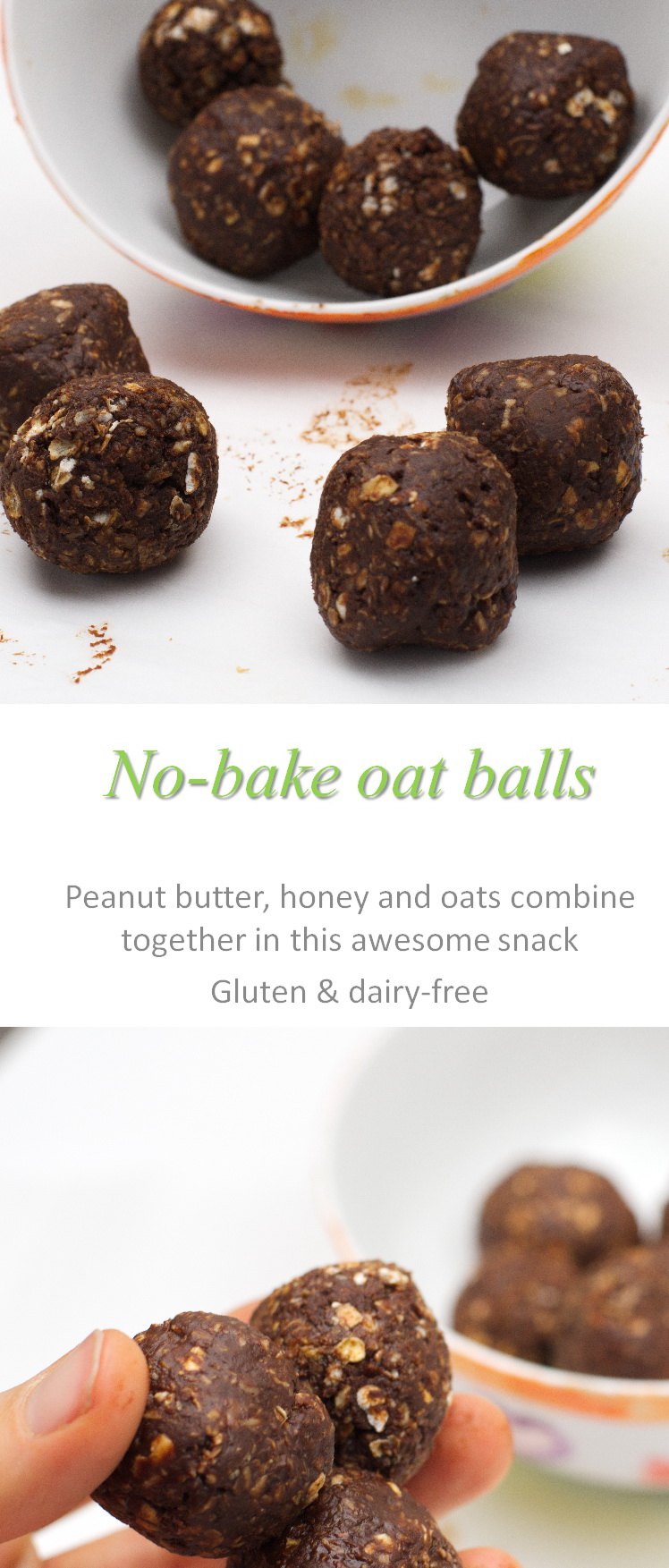 An easy no-bake recipe that combines chocolate, peanut butter and oats into bite-sized oat balls. #oatballs