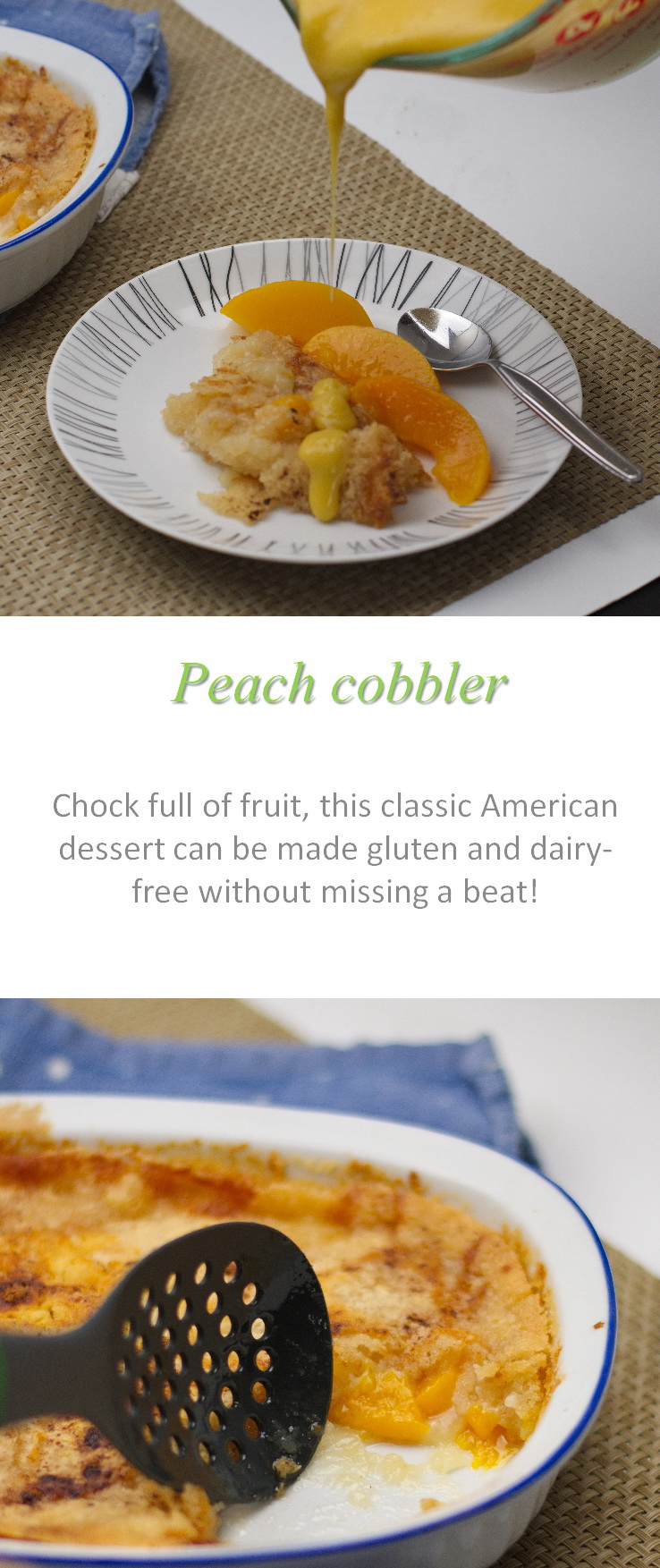This peach cobbler is a great way to use up a whole heap of peaches - with lots of peeled and cut peaches required, but really easy to make. #peachcobbler #cookathome #glutenfree #dairyfree