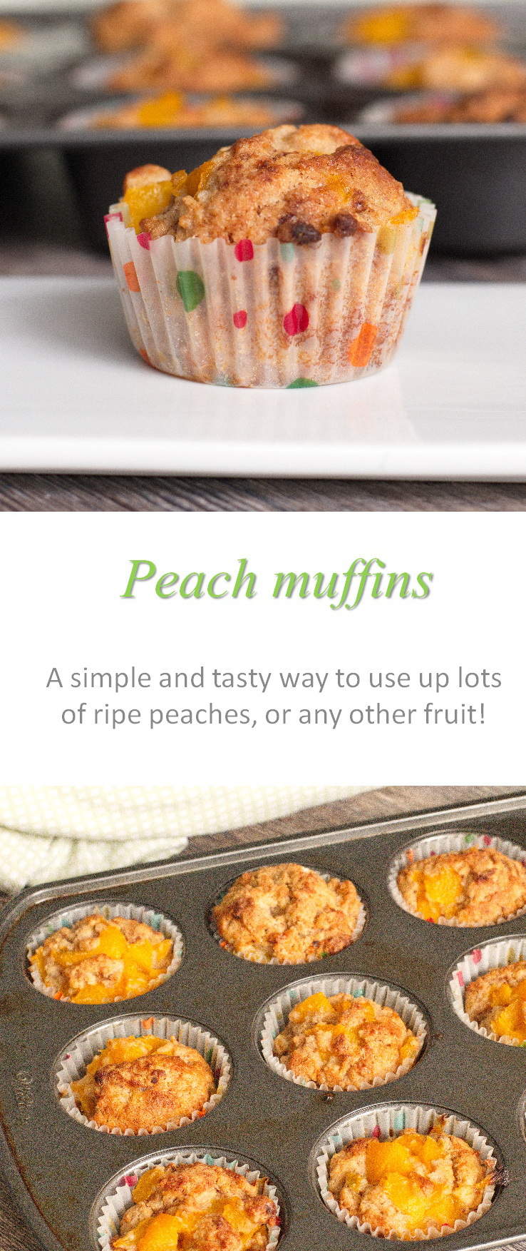 Peach muffins that are gluten and dairy-free  - really soft and moist, and yummy straight from the freezer.  #peach