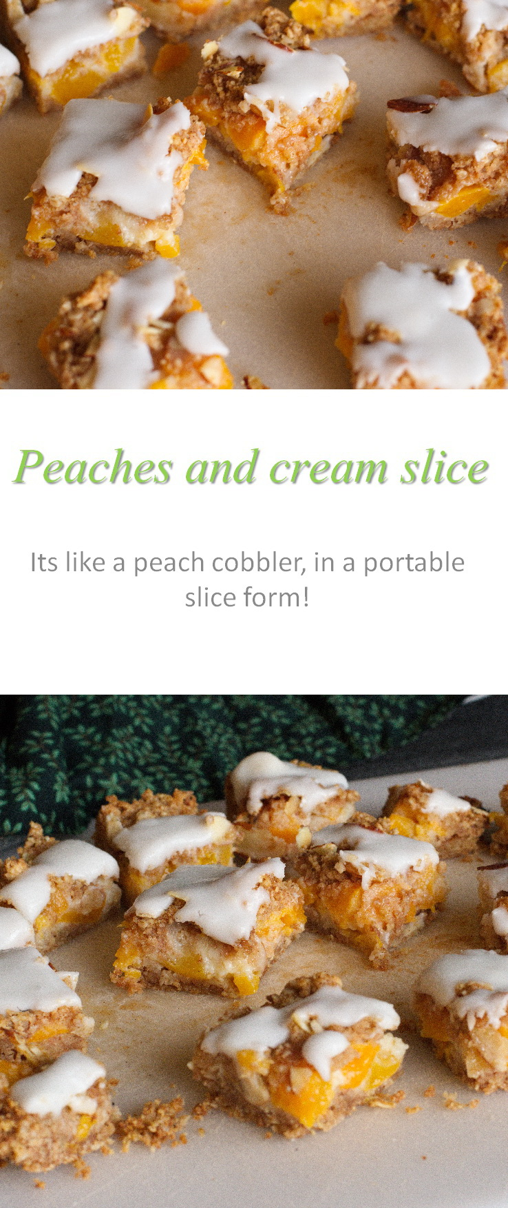 A peaches and cream bar recipe that contains lots of oats, cinnamon and fruit - can be adapted to whatever fruit is in season! #peaches