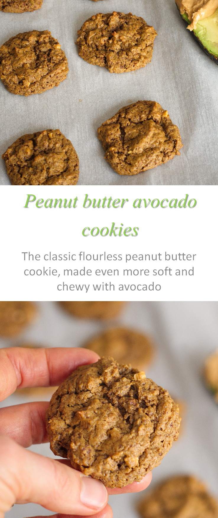 Peanut butter avocado cookies - an unusual combination of ingredients but these peanut butter cookies are so soft and chewy #cookies