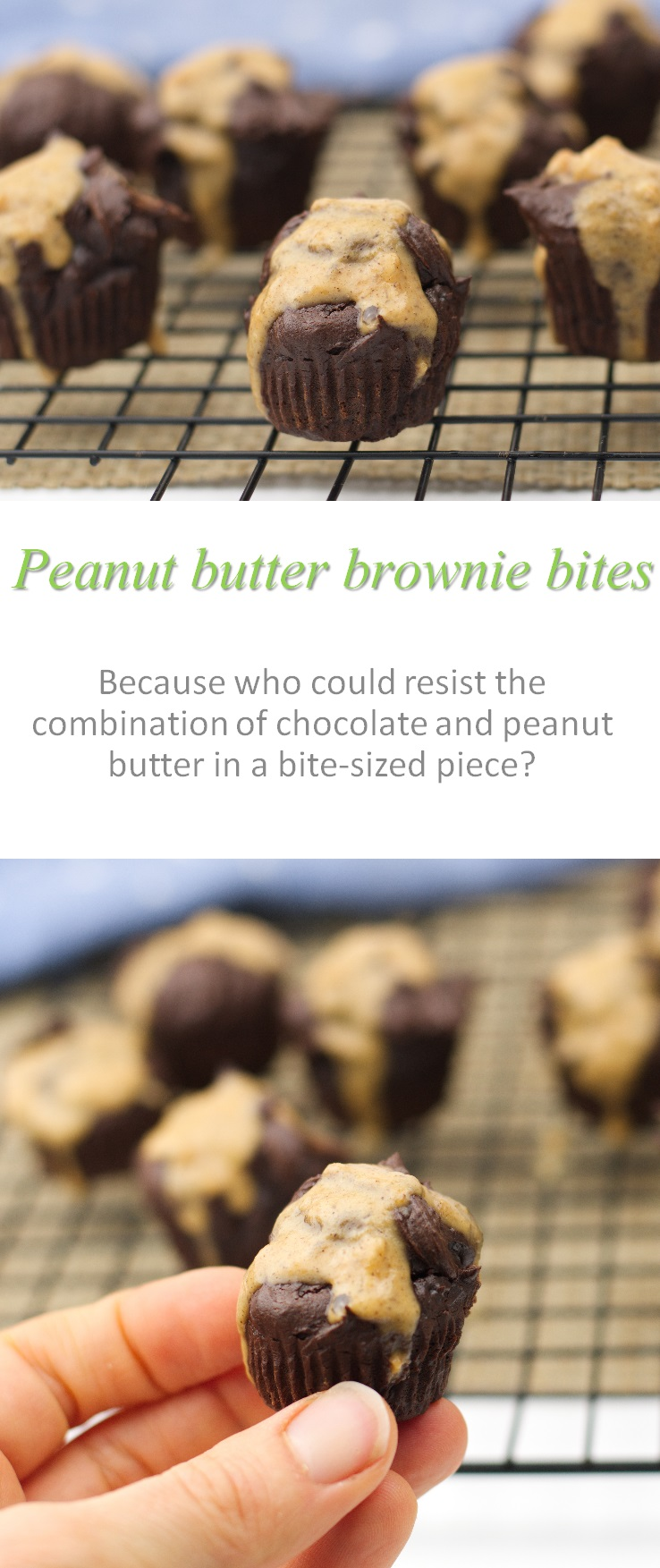 If you have a chocolate and peanut butter craving, these peanut butter brownie bites are just the thing for you! #brownie