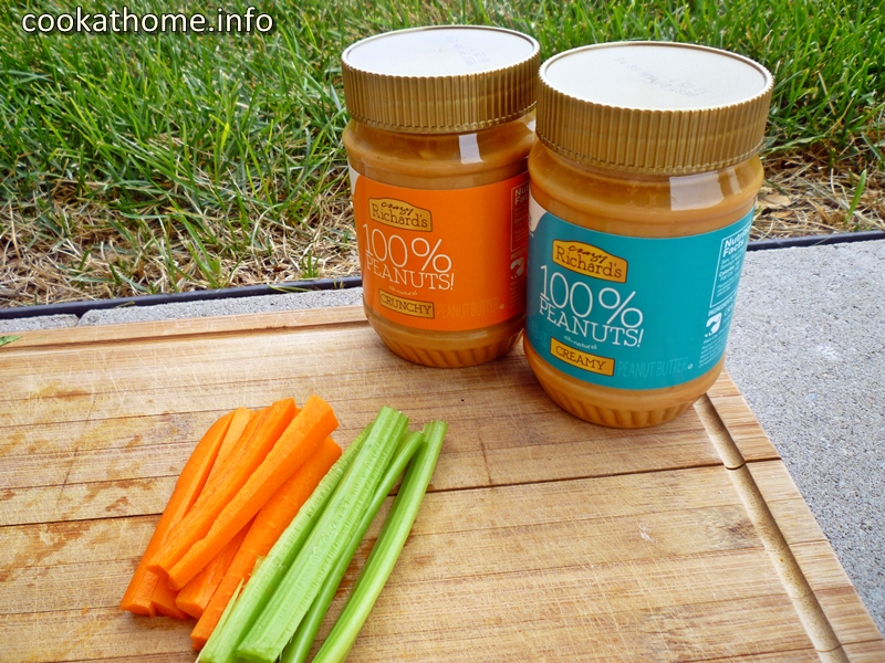 Peanut butter, carrots and celery - my classic snack!