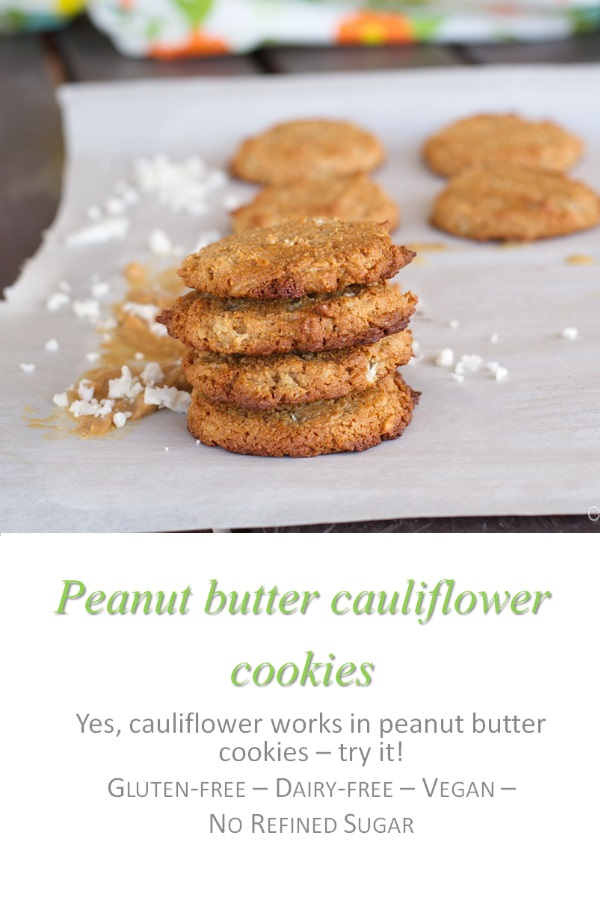 Don't knock these peanut butter cauliflower cookies until you try them - grain-free and no refined sugar ... but with cauliflower for the added crunch! #peanutbutter #cookies #cookathome #glutenfree #dairyfree