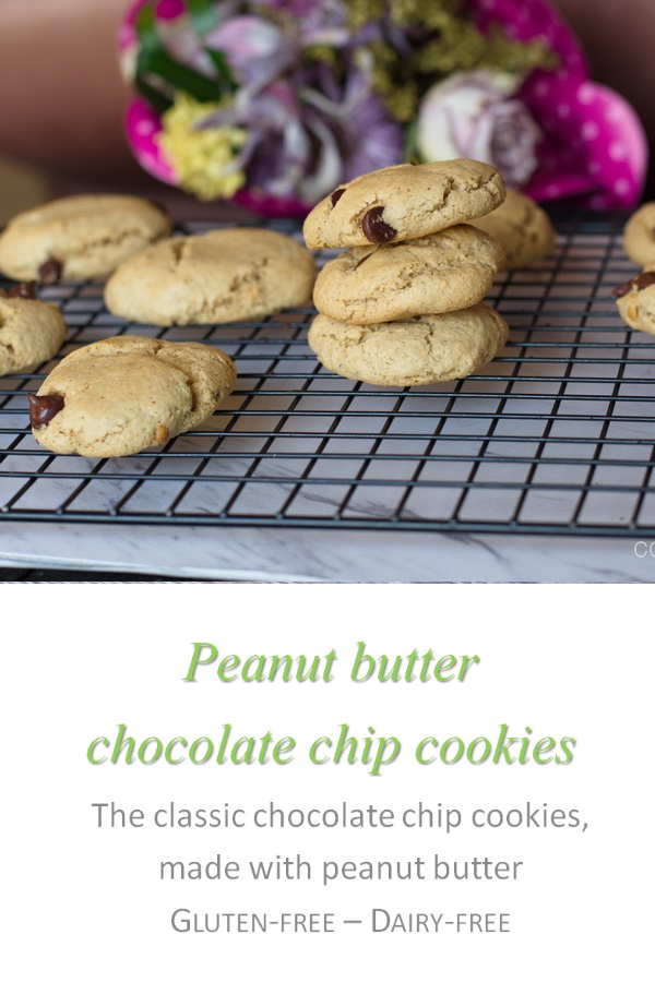 These peanut butter choc chip cookies are a yummy combination of peanut butter and chocolate chips in an irresistible cookie form #peanutbutter #cookies #cookathome #glutenfree #dairyfree