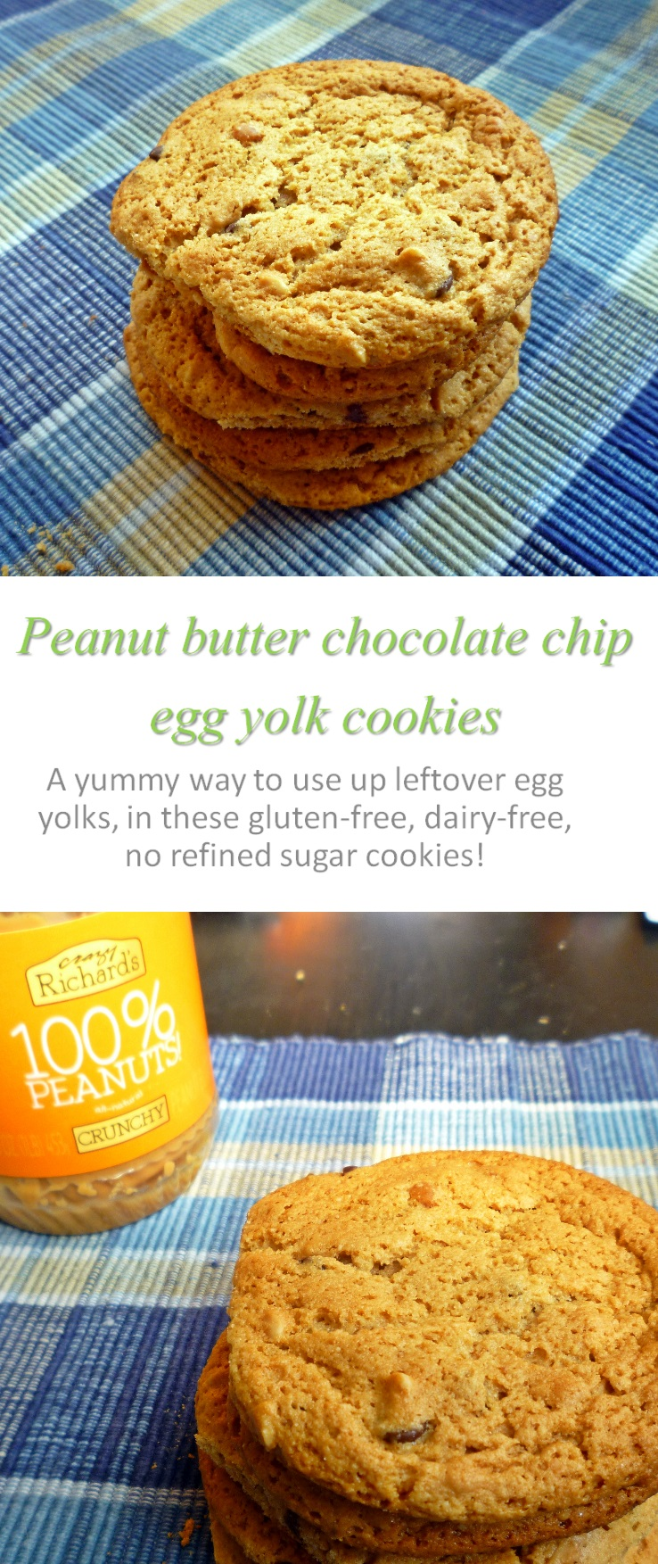 A tasty way to use up leftover egg yolks - these peanut butter egg yolk chocolate chip cookies are seriously addictive! #peanutbutter