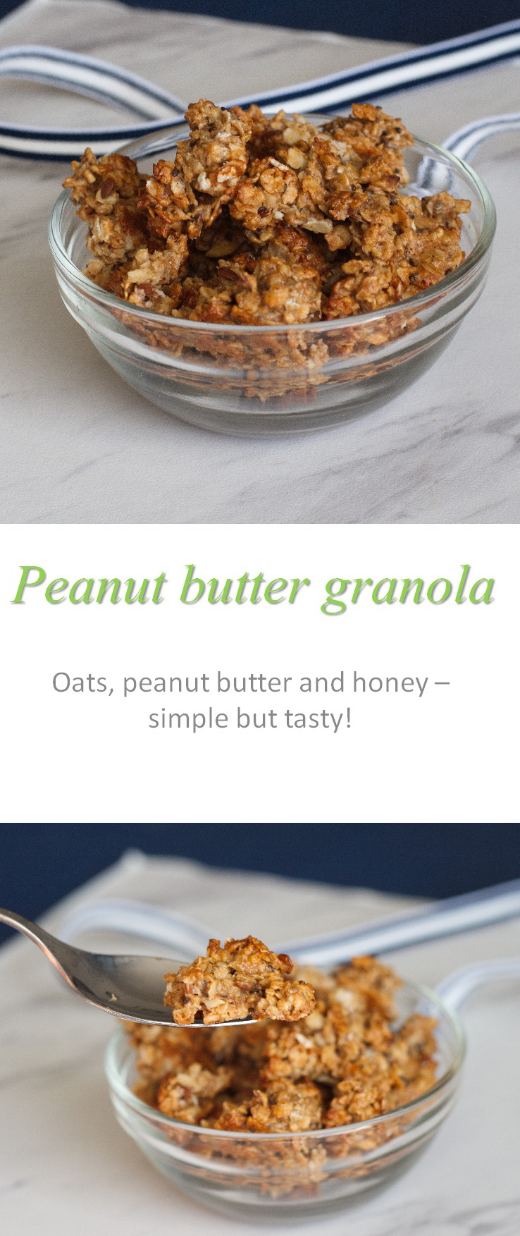 The combination of peanut butter, honey, cinnamon and vanilla gives this peanut butter granola a nice sweetness, but not too much. Toasting the oats gives a great crunch! #granola