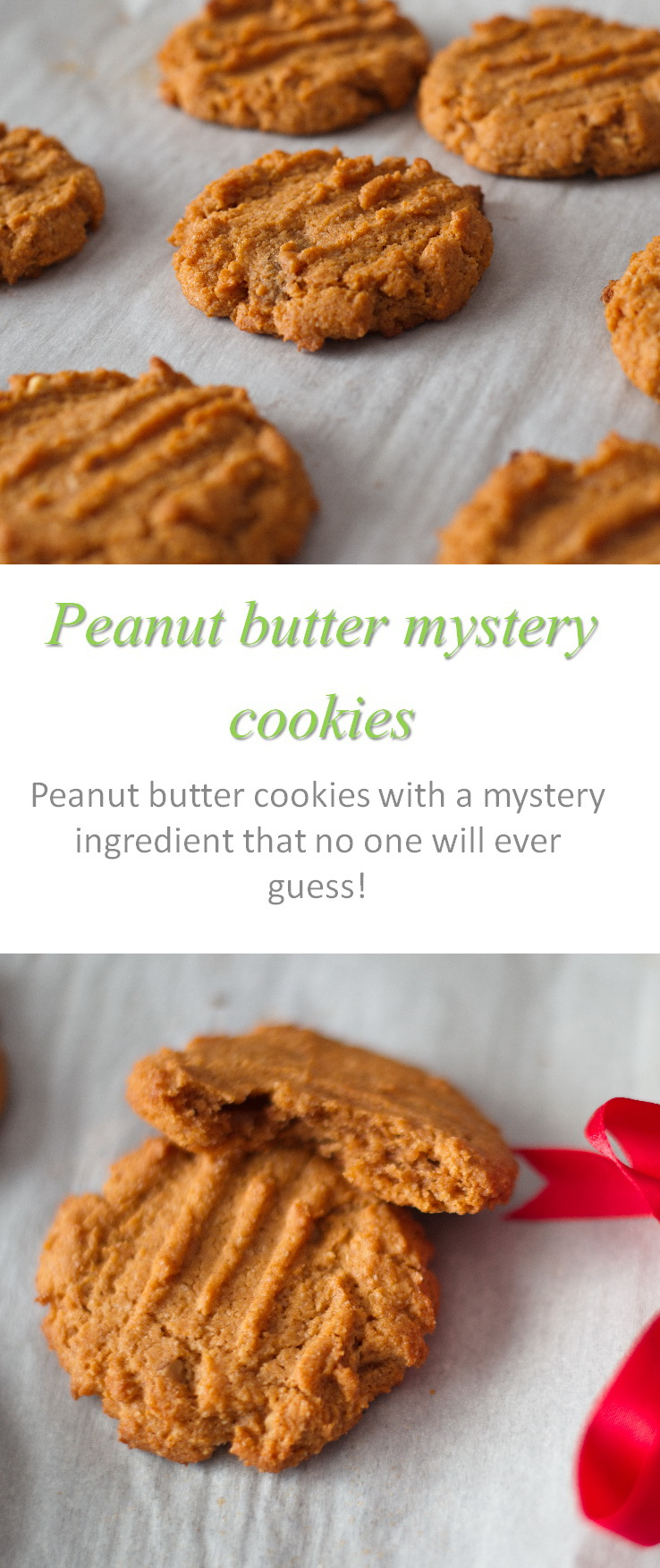 Gluten and dairy-free moist and chewy peanut butter mystery cookies - no one will ever guess what the secret ingredient is! #peanutbutter