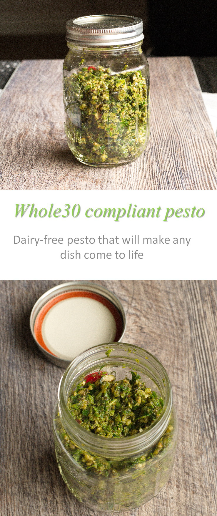 A Whole30 compliant, dairy-free pesto sauce that makes any meal come to life! #pesto #cookathome #glutenfree #dairyfree #paleo #whole30