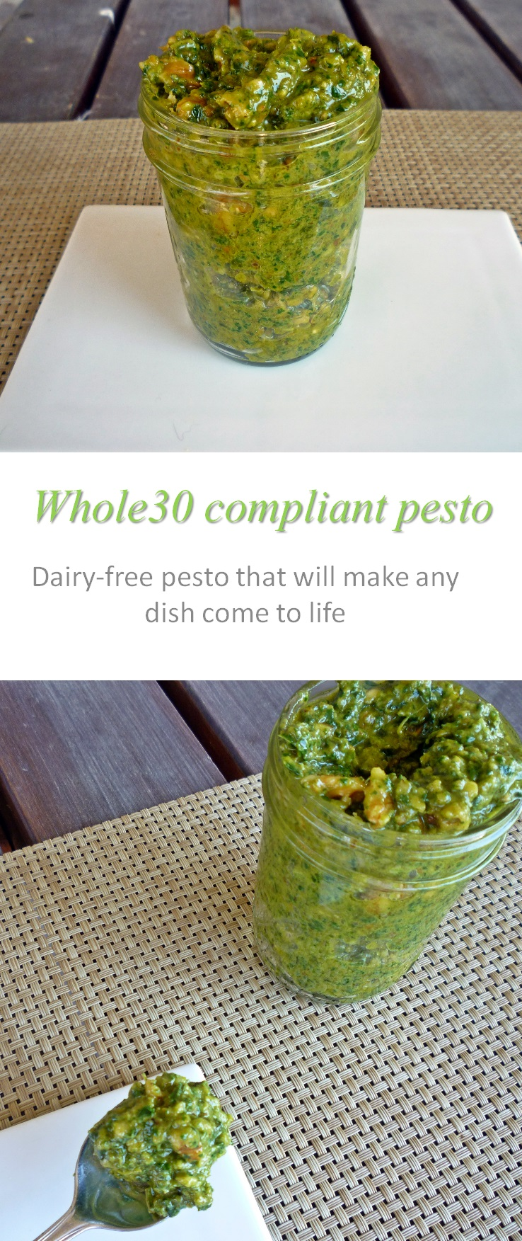 A Whole30 compliant, dairy-free pesto sauce that makes any meal come to life! #pesto