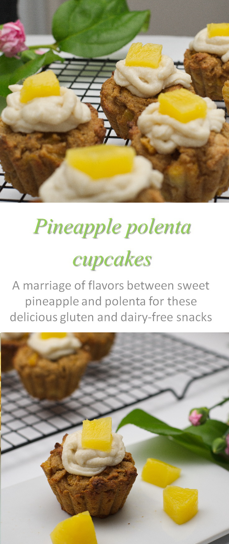 Deliciously sweet, you will never know these pineapple polenta cupcakes are gluten and dairy free #pineapple