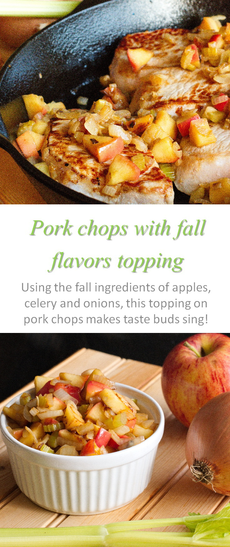 These grilled pork chops with fall flavors as a topping are Whole30 compliant and should be eaten all year round! #porkchops
