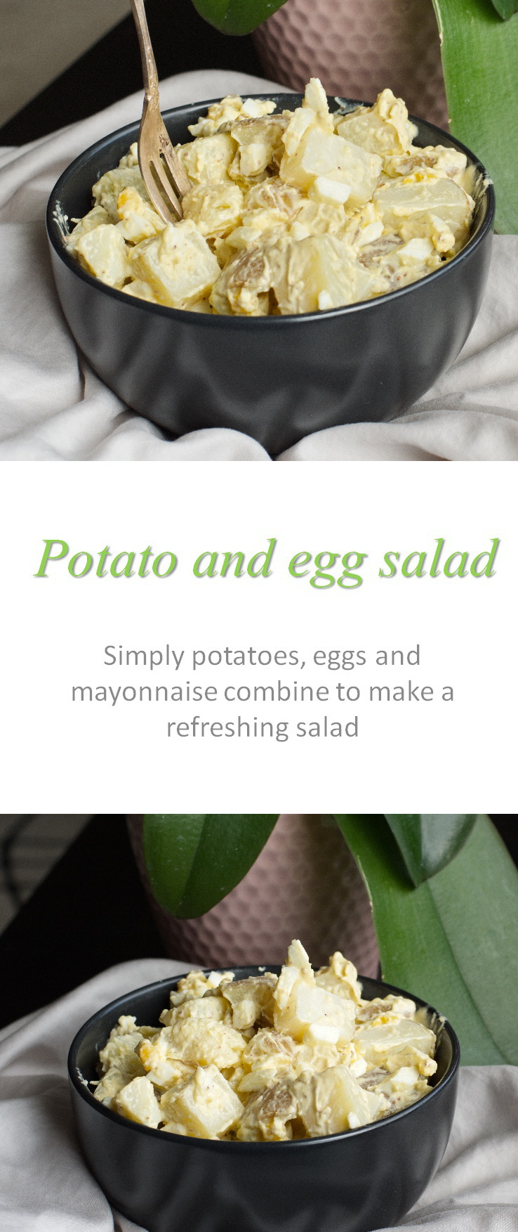 Simple but tasty potato egg salad that anyone can make - make it easy for yourself and make this salad for any occasion! #potatosalad #cookathome #glutenfree #dairyfree