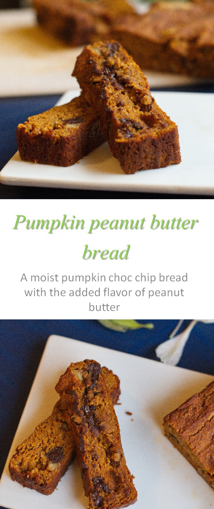 Pumpkin peanut butter bread - a yummy gluten and dairy free treat with the combination of pumpkin, peanut butter, nuts and chocolate chips. #pumpkinbread