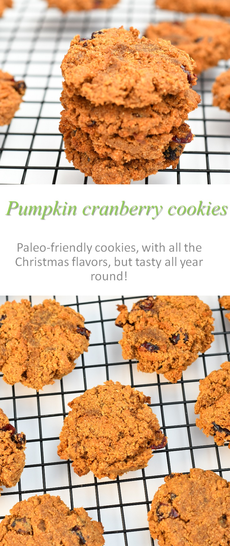 These pumpkin cranberry cookies are full of the Christmas flavors, but yummy enough to eat throughout the year! #pumpkin