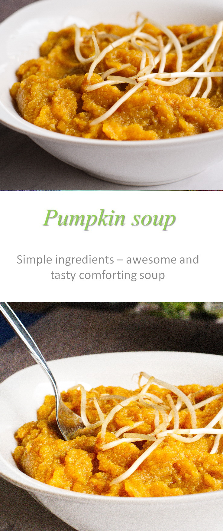 A simple pumpkin soup that packs a punch of flavor, with all natural ingredients that avoid all the top 8 allergens. #pumpkinsoup