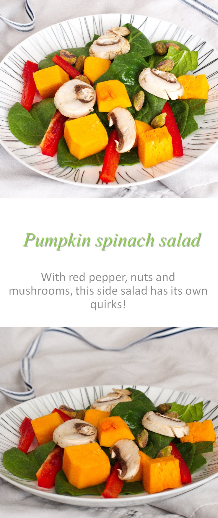This pumpkin spinach salad is a deliciously different salad - with pumpkin, spinach, red peppers, mushrooms and nuts. #salad