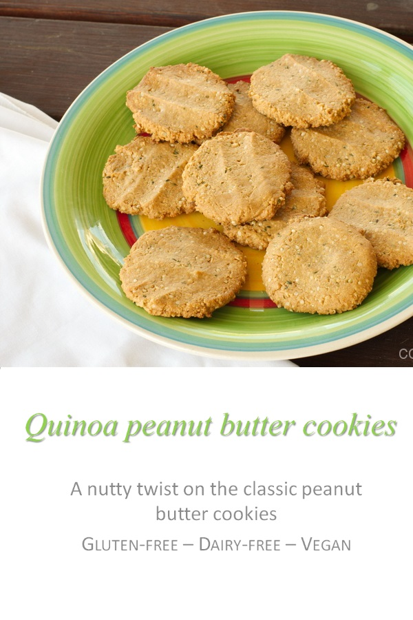 These quinoa peanut butter cookies are chewy, moist, gluten and dairy-free with no eggs - but so yum! #quinoa #cookies #cookathome #glutenfree #dairyfree #vegan