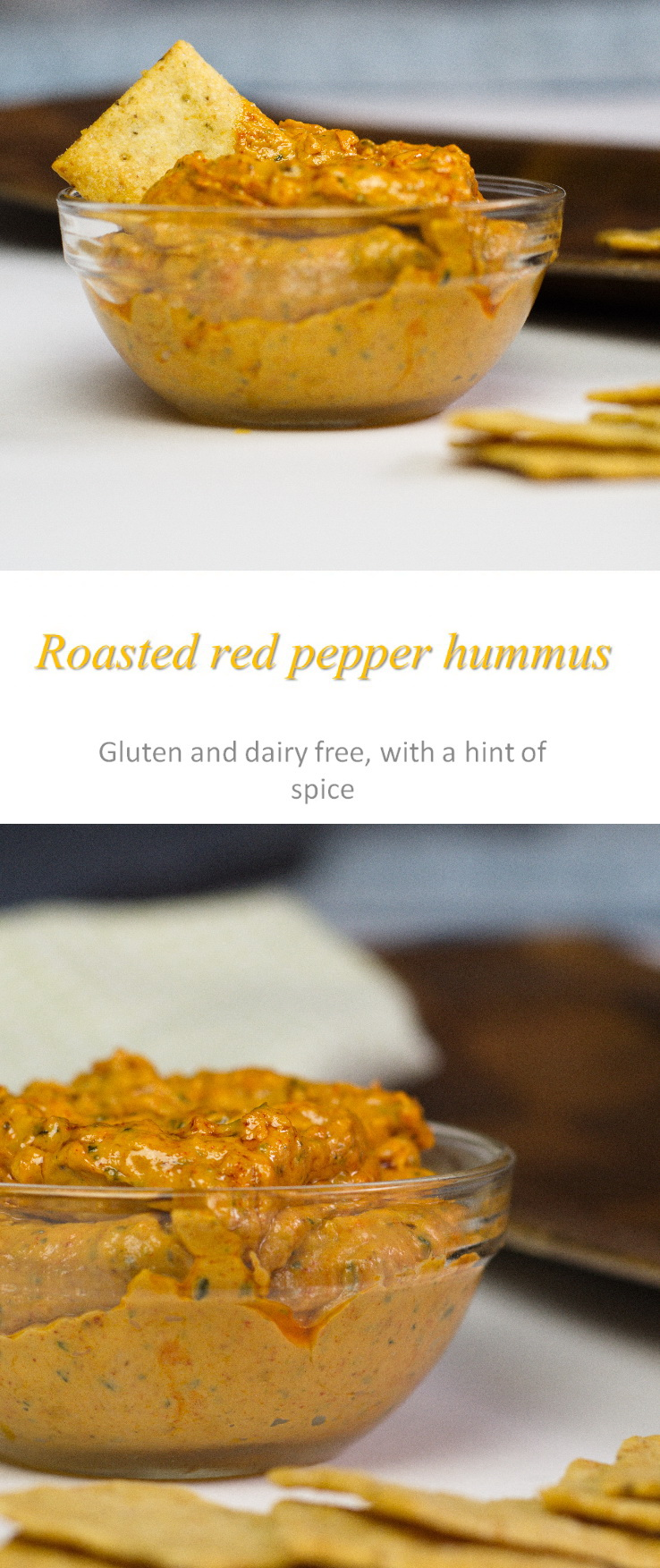 A really easy and tasty recipe to make red pepper hummus at home - healthy and all natural ingredients and hint of spice #hummus