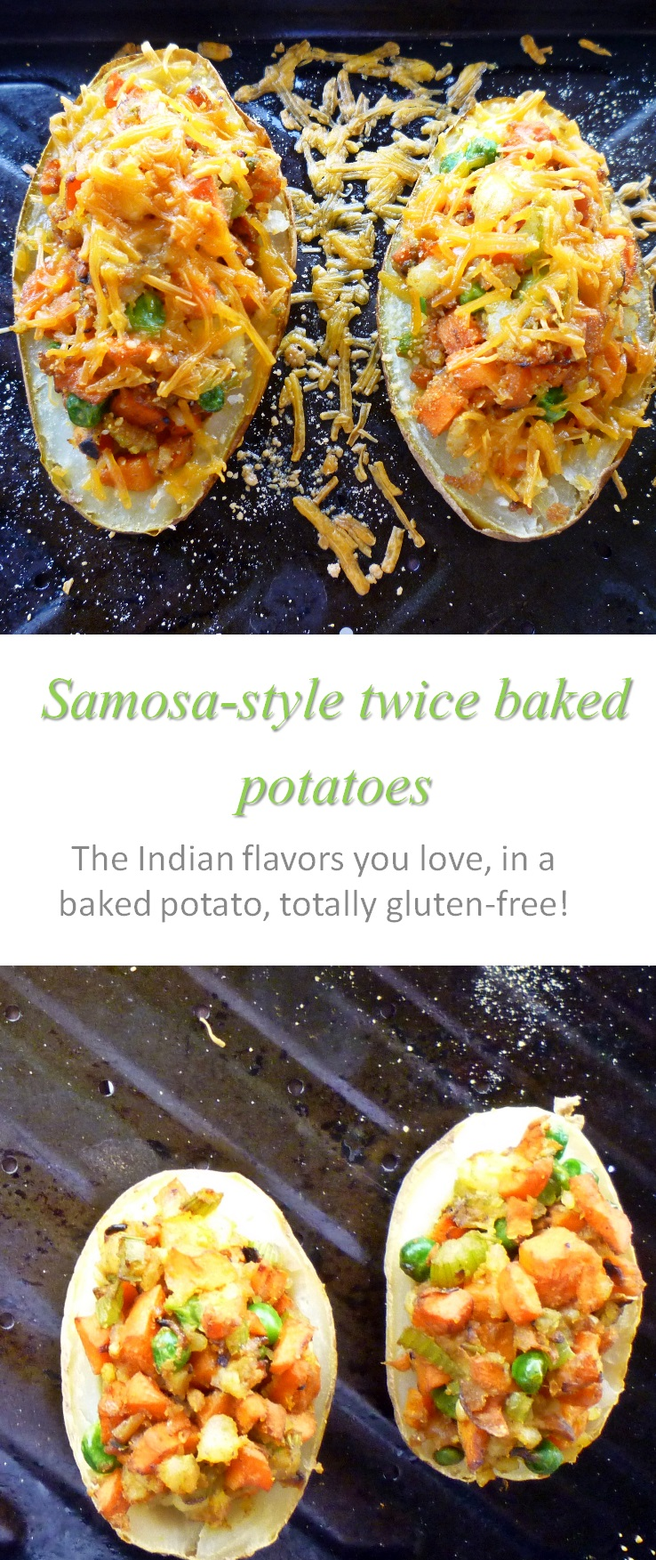 Twice-baked potatoes, with a samosa-style filling - who needs Indian takeout when you can make these samosa baked potatoes at home? #bakedpotatoes