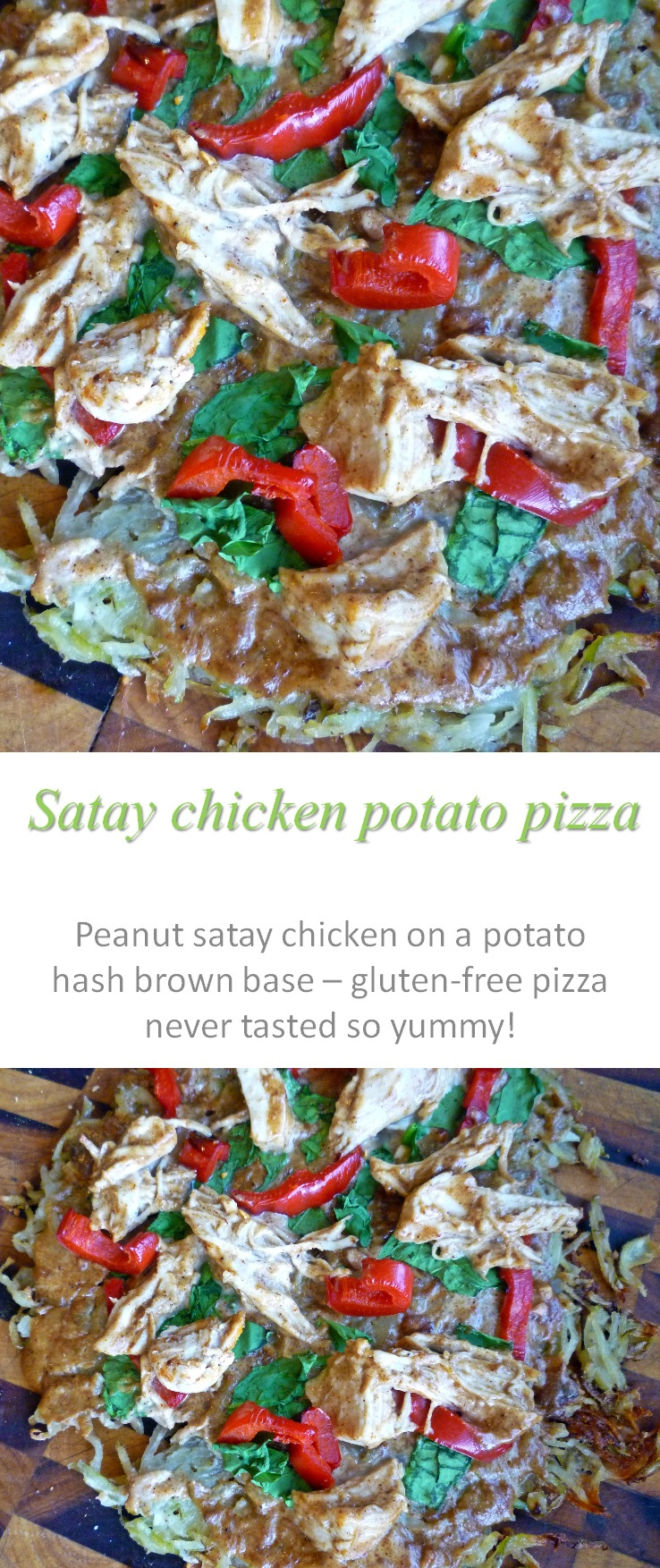 A potato pizza crust (gluten and dairy-free) topped with peanut satay chicken, spinach and peppers - what could be better for pizza nights? #pizza