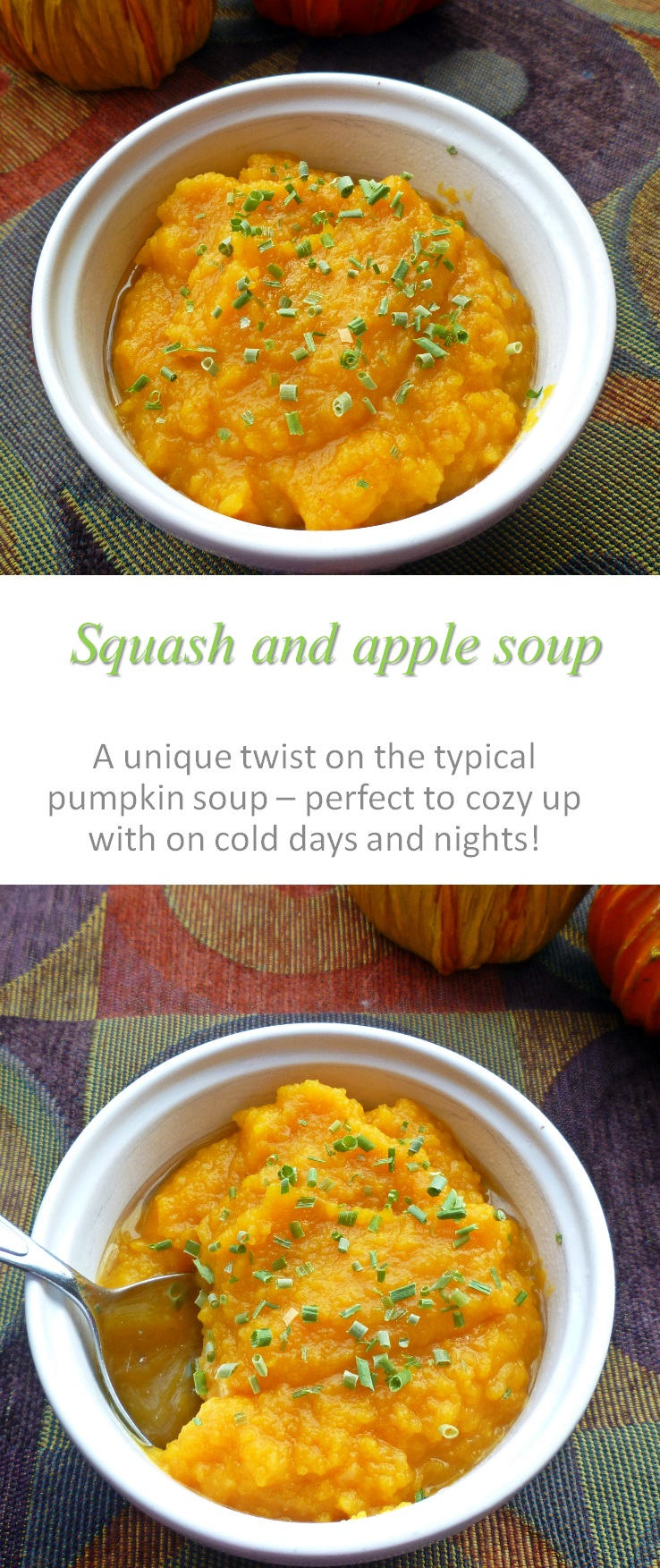 Take advantage of all the winter squash and make this squash apple soup for a hearty, cozy meal, warming you up from the inside out! #squash