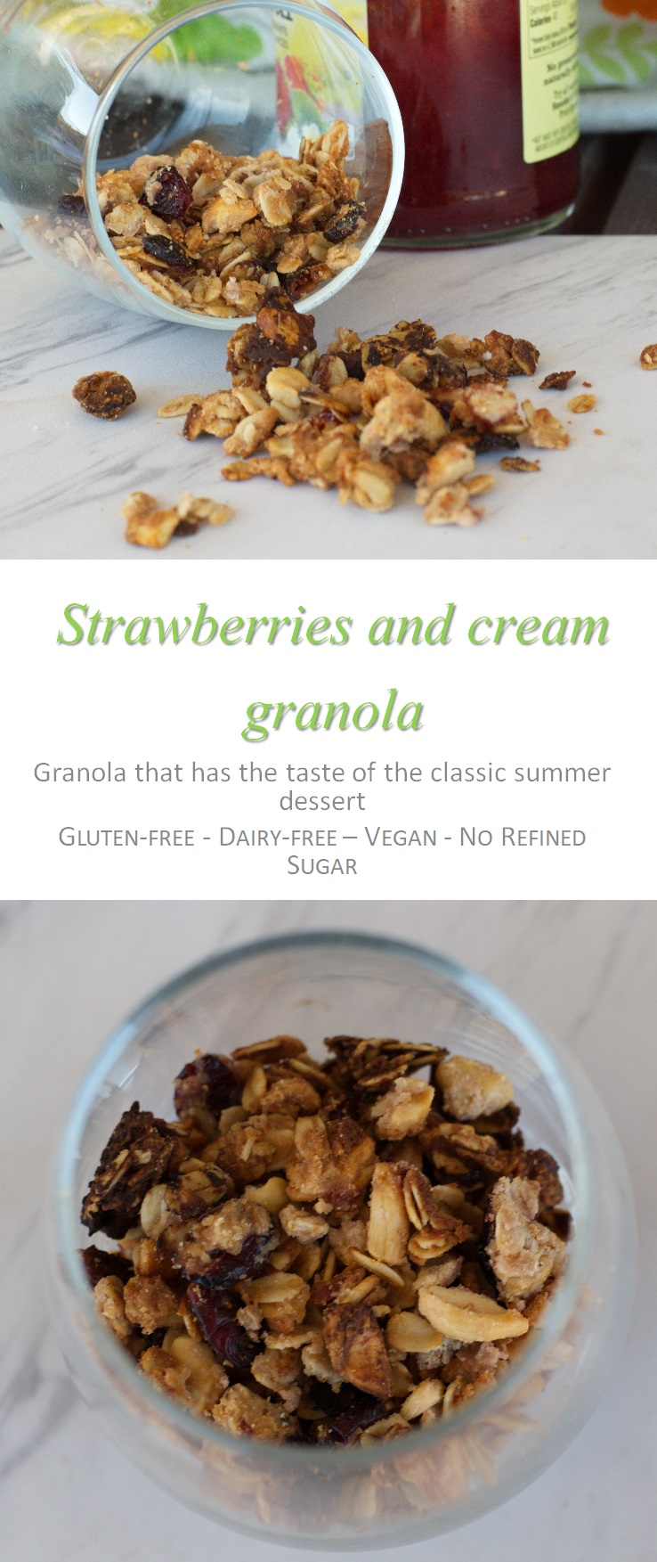 Who doesn't love strawberries and cream?  Check out this strawberries and cream granola and feel like you're having dessert for breakfast! #granola #strawberriesandcream #cookathome #glutenfree #dairyfree