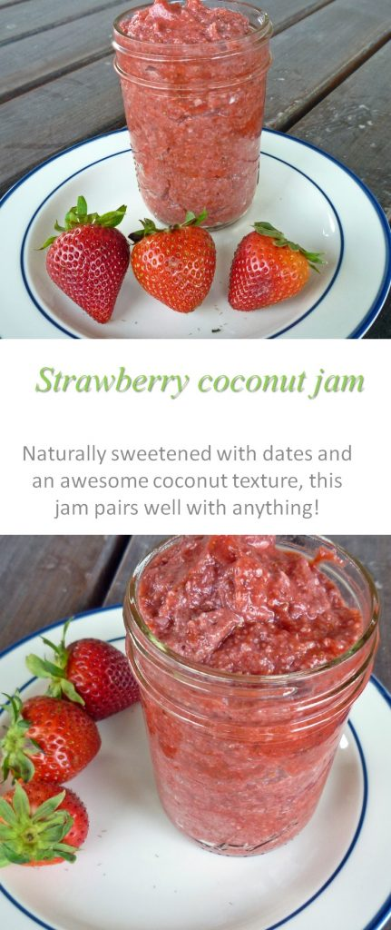 Make strawberry coconut jam at home - and enjoy this healthy Paleo friendly spread, sweetened only with one date! #strawberry