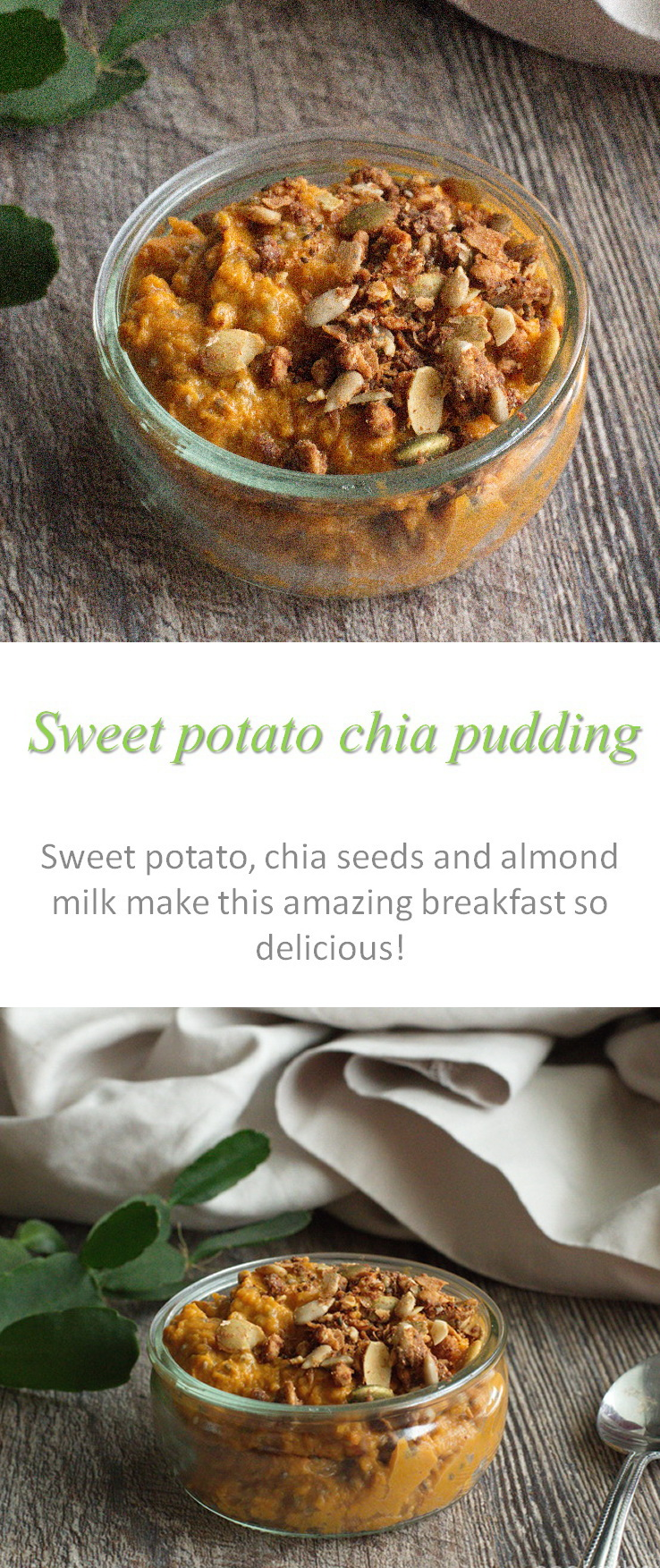 A delicious Paleo-friendly sweet potato chia pudding, an easy way to eat more veggies in the morning, or as a snack, or as whenever! #chiapudding #sweetpotato #cookathome #glutenfree #dairyfree