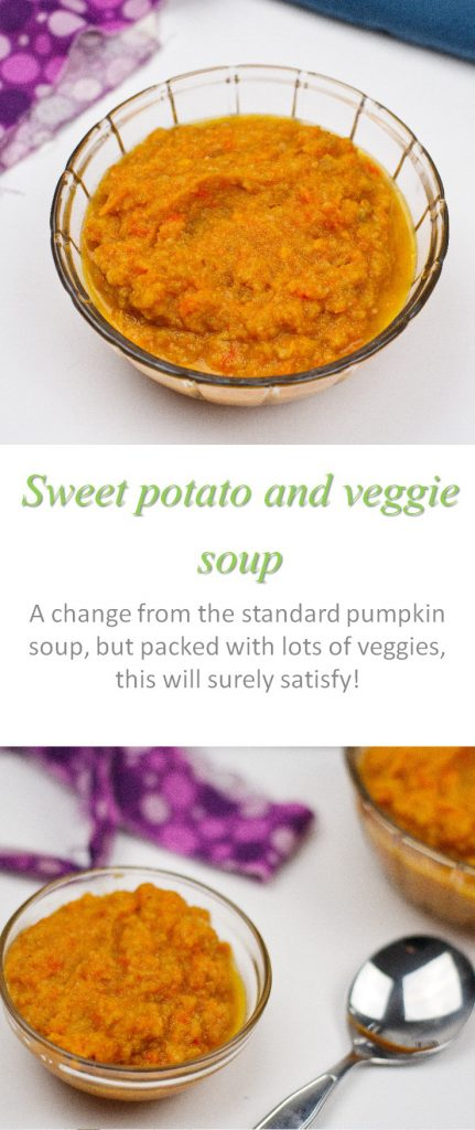 Full of veggies and flavor - this sweet potato veggie soup is so tasty for any day of the year! #soup