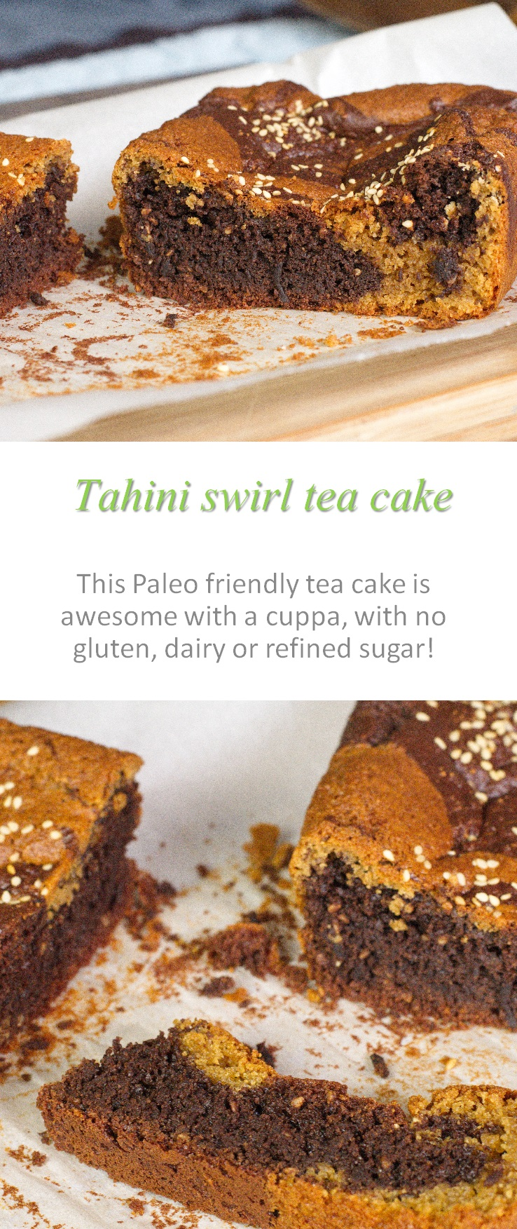 A nutty, seedy taste for this tahini swirl tea cake - the perfect accompaniment to any cuppa, hot or cold! #tahini #teacake #paleo #cookathome #glutenfree #dairyfree